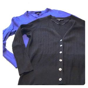 LB Lane Bryant Black & Blue Cardigan Pair/Bundle